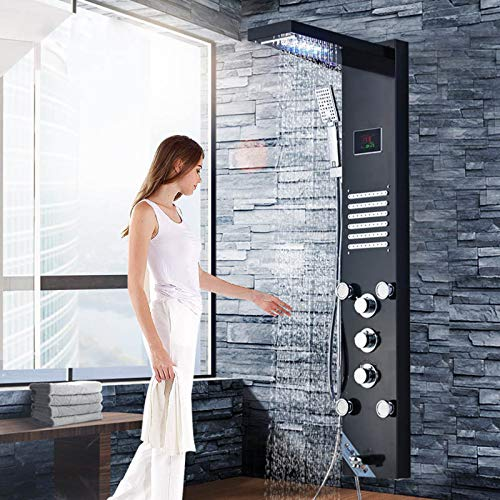 FUZ LED 47 Inch Shower Panel System,Shower Tower with 5- Function,Waterfall Rainfall Shower Head,Handheld Sprayer,Body Massage Jets and Tub Spout,Oil Rubbed Bronze