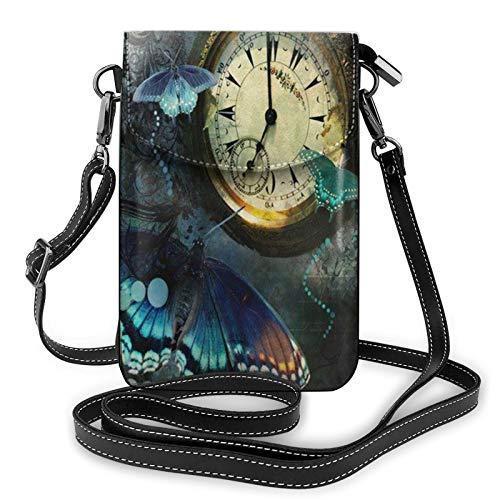 Bolso ligero del teléfono celular de la PU, bolso pequeño de la mariposa del reloj bolso de hombro de la cartera del bolso del Pounch para las mujeres, color Negro, talla Talla única