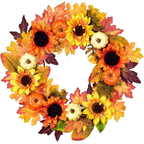 Sunflower Wreath with Multicolor flowers and Pumpkins.  20 inch.
