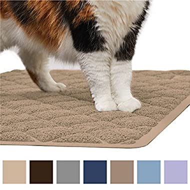 Gorilla Grip Original Premium Durable Cat Litter Mat (35x23), XL Jumbo, No Phthalate, Water Resistant, Traps Litter from Box and Cats, Scatter Control, Soft on Kitty Paws, Easy Clean (Beige)
