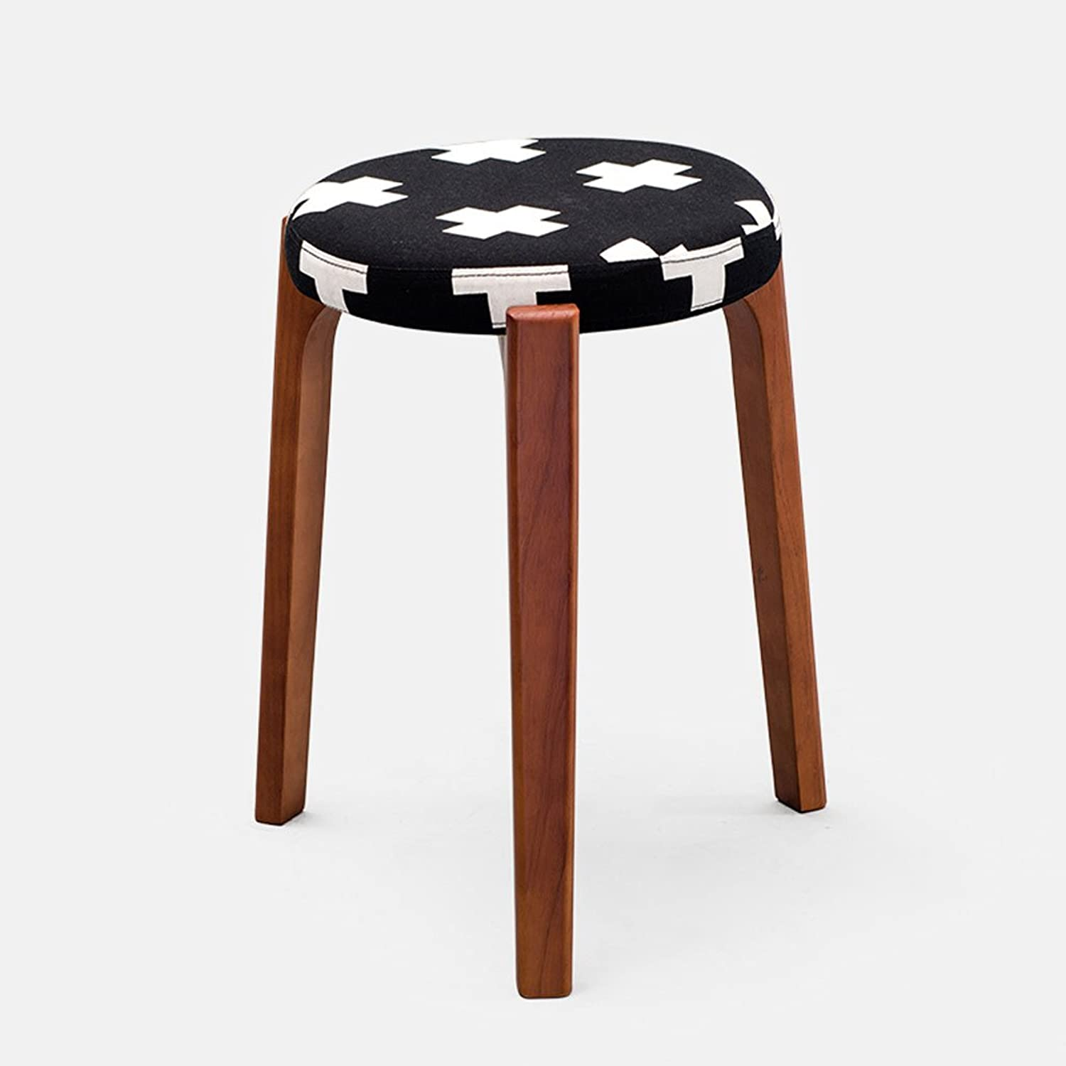 TXXM Barstools Small Stool Fashion Solid Wood Creative Table Stool Household Dressing Stool Stool Living Room Simple Cloth Bench (color   A)