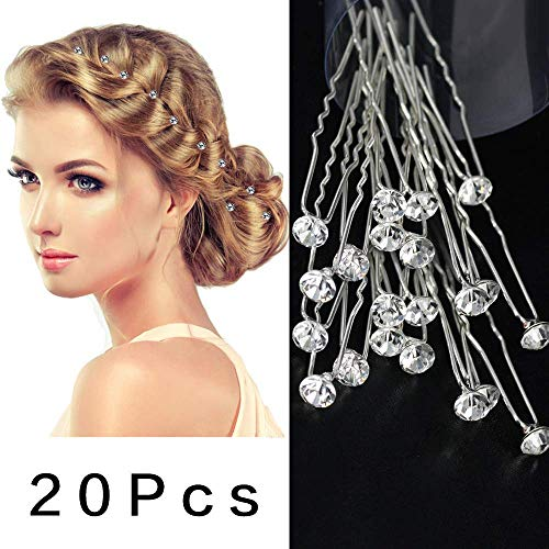 Kristall Haarnadeln Strass Hochzeit Haarspangen Braut Haarspangen mit Aufbewahrungsbox 20 Pcs