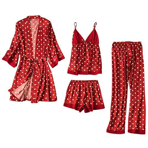 SHUANGA 2020 Damen Neue Nachthemd Frauen Satin Seide Pyjamas Cardigan Nachthemd...