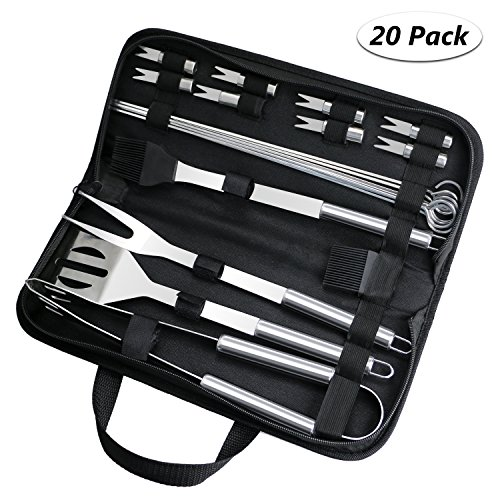 Fixget Grillbesteck Set, Edelstahl BBQ Tools Sets Kochutensilien Set BBQ Grill Tools Kit für Picknick, Camping Barbecue Party (20 PCS)