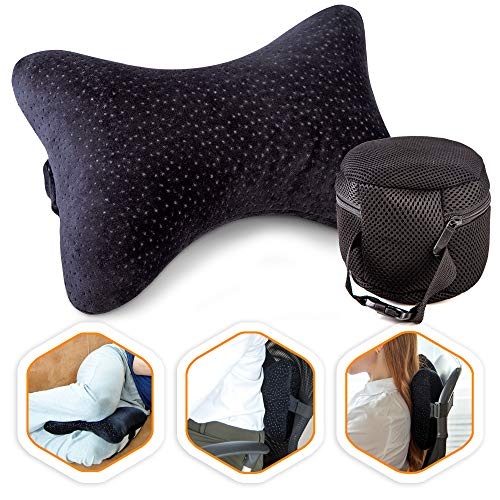Aeris Car Headrest Pillow,%100 Memory Foam Car Neck Pillow for Driving with Strap - Carry Bag - Maximum Neck Support for Car Seat - Portable Small Travel Pillow - Perfect for Camping and Traveling