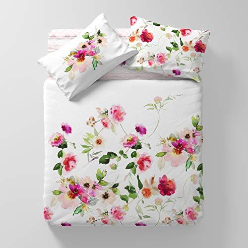 COGAL – Juego de funda nórdica de matrimonio – Flower Power – Estampado floral colorido, disponible en varios colores, material 100% algodón – Fabricado en Italia