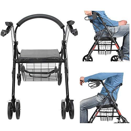 Cikonielf Andador de Acero para Ancianos, Andadores Adultos con Asiento Plegable para Mayores o minusválidos, Carga 136kg, 75 x 88 x 57cm