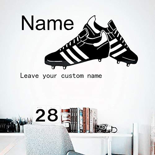 Jungen kinder schlafzimmer wohnkultur wandbild fußballschuhe wandtattoo hübsche fußballschuhe personalisierte benutzerdefinierte name vinyl aufkleber