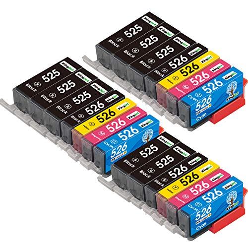 Kingjet 20 cartuchos de tinta de repuesto para Canon 525 526 PGI-525 CLI-526 para Canon PIXMA MG6150 MG6250 MG5350 MG5250 MG5150 IX6550 IP4950 IP4850 (8 PGBK, 3 negros, 3 cian, 3 Magenta, 3 Amarillo)
