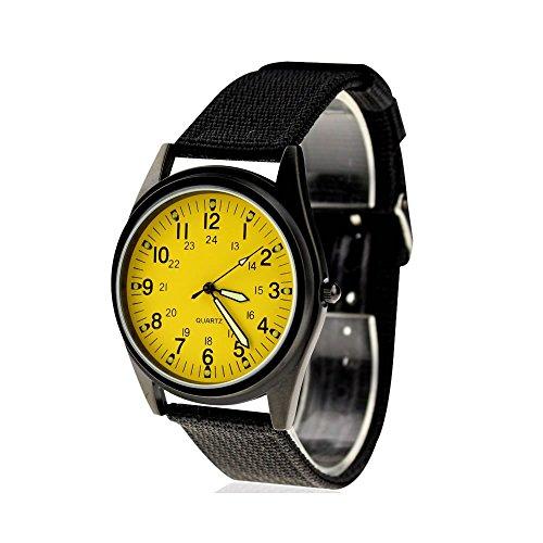 City Fashion - Reloj de pulsera con correa de tela de nailon y esfera amarilla, color negro