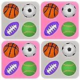 Lot de 4 moules en silicone en forme de balle de sport pour décoration de gâteaux au chocolat, cupcakes, ballons de baseball, basketball, rugby - Rose et gris