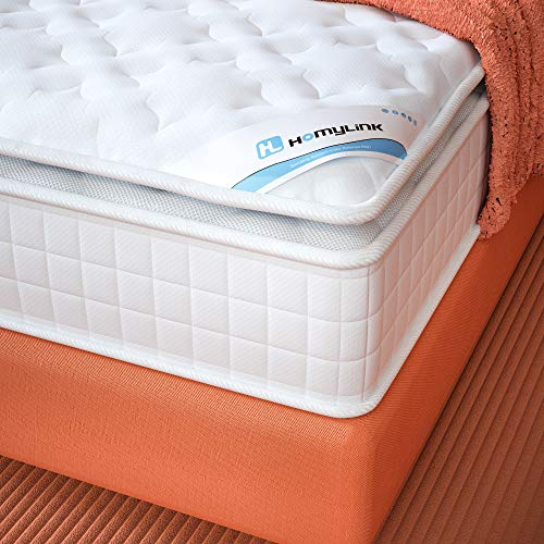 HomyLink Single Mattress with Pillow Top 3FT Pocket Sprung Mattresses 3D Breathable Knitting Fabric 9-Zone Orthopaedic 27cm Height