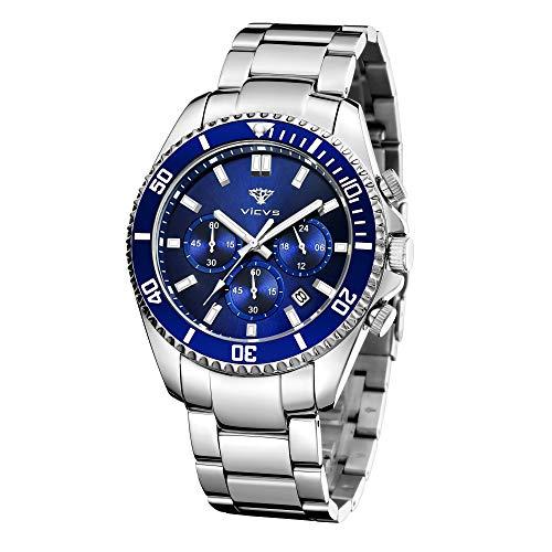 VICVS Relojes para Hombre Cronógrafo Reloj de Cuarzo analógico Resistente al Agua Reloj de Pulsera de Acero Inoxidable de diseñador para Hombre Relojes de Moda para Hombre (Azul)