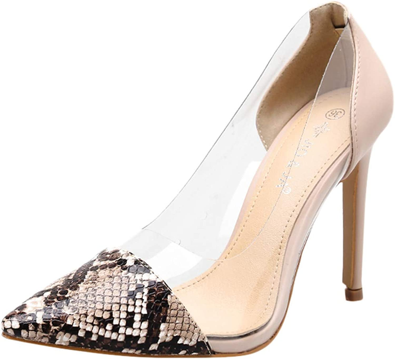Theshy Sexy Women's Pointed Toe Snake Skin Pattern Transparent High Heel shoes Sandals