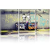 Imprimir 3 piezas Banksy Peeing Boys Life is Short Chill The Duck Out Street Graffiti Canvas Wall Ar...