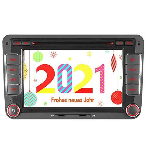 HTparts 16GB TF Card Autoradio Navi CD DVD GPS CAN-Bus Radio RDS Bluetooth A2DP GPS Navigation für VW Golf Mk5 MK6 Passat Polo Touran Tiguan Caddy Transporter T5 Seat Leon USB SD