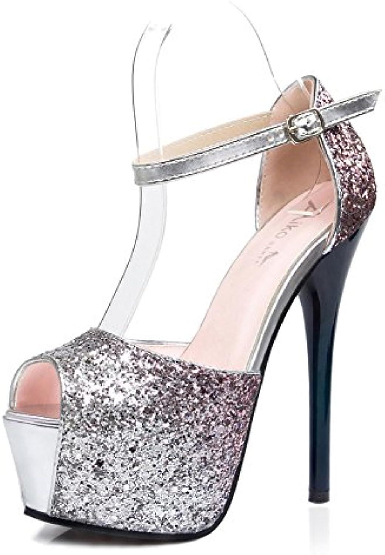 Hanglin Trade Women's Open Toe Crisscross Strappy Platform Stiletto High Heel Sandal Party Evening shoes