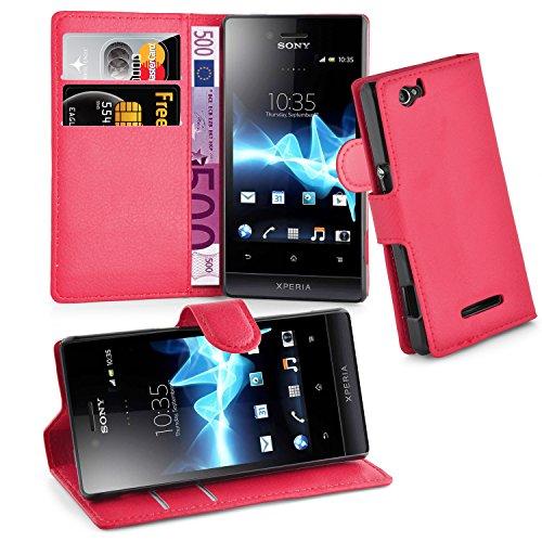 Cadorabo Custodia Libro per Sony Xperia M in Rosso Carminio - con Vani di Carte, Funzione Stand e Chiusura Magnetica - Portafoglio Cover Case Wallet Book Etui Protezione