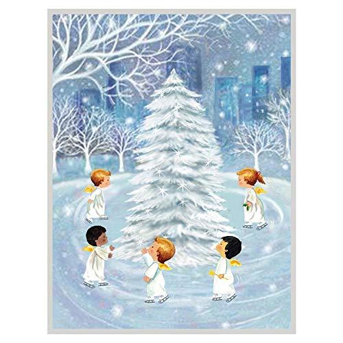 Caspari Skating Angels Boxed Christmas Cards - 16 Cards & Envelopes