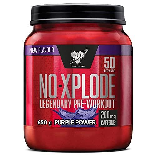 BSN N.O.-Xplode Pre Workout in Polvere, Integratore Alimentare con Caffeina, Aminoacidi, Vitamina C e Zinco, Purple Power, 50 Porzioni, 650g, il Packaging Potrebbe Variare