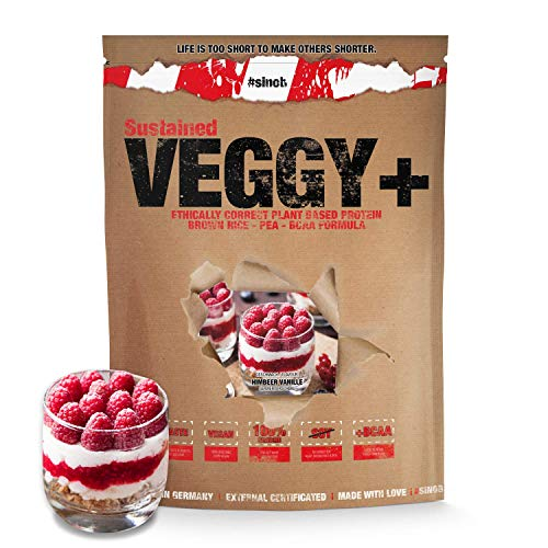 sinob Veggy+ (Vanille Himbeere) Veganes Eiweiß aus Reis- und Erbsenprotein + BCAA. 1 x 900 g