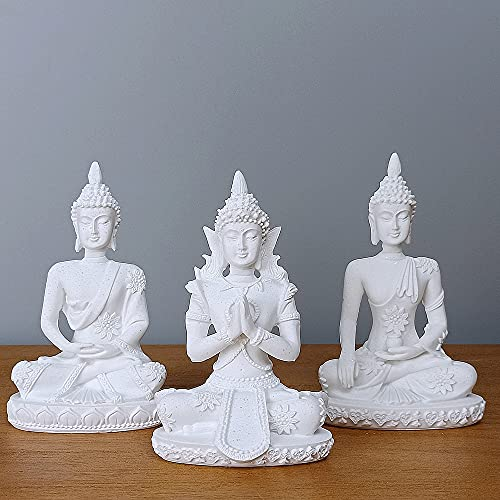 HYFAN Mini Buddha Meditation Statue Harmonious Figurine Collectible Craft Feng Shui Sculpture Decor for Home Office Shelf Desktop Decoration ( Pack of 3