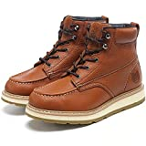 HANDROCK Work Boots for Men, 6' Composite Toe & Soft Toe Mens Work Boots, Non-Slip Puncture-Proof Water Resistant Safety EH Moc Toe Construction Work Shoes (Brown)