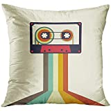 wenyige8216 Tape Cassette Retro Vintage Style Music Flat Decorative Pillowcases Throw Cushion Covers for Sofa And Couch 45 x 45 cm