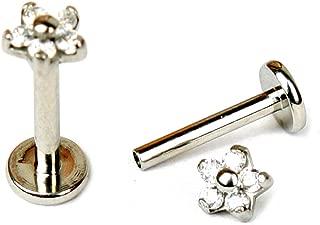 NewkeepsR 16G 316L Steel Internally Threaded Flower Cubic Zircon Labret Helix Tragus Cartilage Stud