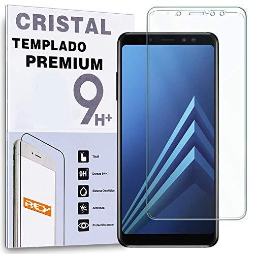 REY Protector de Pantalla Curvo para Samsung Galaxy A8 2018 - A5 2018, Transparente, Cristal Vidrio Templado Premium, 3D   4D   5D