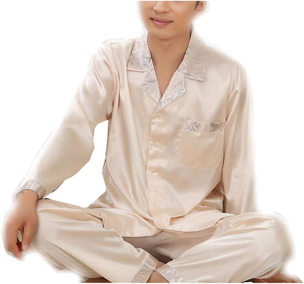 seaoeey Men's Pajamas Ultra Cozy Silk Long Sleeve Top Pants Lounge Sleepwear Sets Breathable
