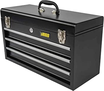 JEGS 3-Drawer Portable Toolbox   Ball-Bearing Drawer Slides   Rust-Resistant Latches   Black Powder Coat Finish   Includes Lock and Keys: image