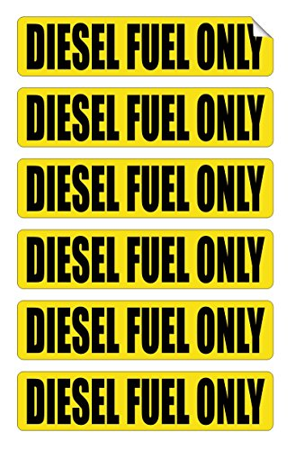 DIESEL FUEL ONLY Automotive Decals   Gas Can Stickers   Truck Labels   Yellow Vinyl Markers (6-pack)