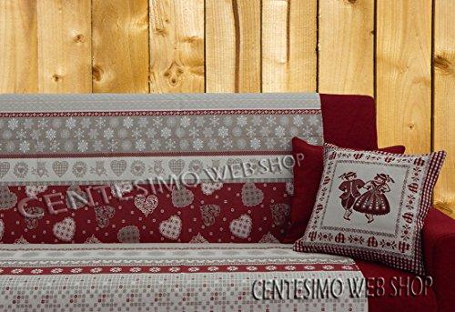 Centesimo Web Shop Telo ARREDO COPRITUTTO 2 Misure Prodotto in Italia Gran Foulard Multiuso Tuttofare COPRIDIVANO COPRIPOLTRONA - Tirolese Shabby Cuori - 250x290 cm Rosso