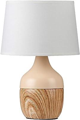 Lampe de table beige textile céramique Yvette/blanc Ø20cm H: 29cm avec commutateur intégré