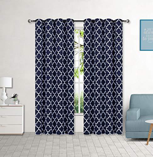 "Set of 2 Grommet 54"" W x 84"" L (108"" Total Width) Decorative Window Curtain Panels, Navy Blue/White Moroccan Lattice Room Darkening Soft / Heavy Panels for Living Room/Bedroom, (Hilary 84"" Navy Blue)"
