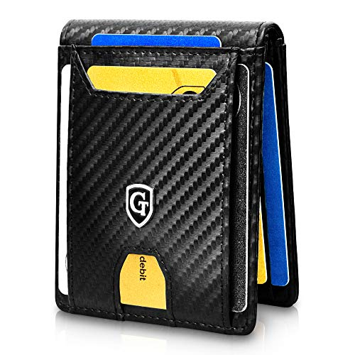 GenTo® Atlanta Herren Geldbörse mit Geldklammer - TÜV geprüft - Geldbeutel für Männer mit RFID Schutz inkl. Geschenk Box - Smart Wallet - dünnes Portemonee (Carbon)