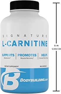 Bodybuilding Signature L-Carnitine Capsules | CARNIPURE Amino Acid | Support Metabolism, Helps Convert Fat to Energy | 180 Servings