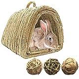 Tfwadmx Bunny Grass Casa, cama de heno tejida a mano natural para jugar. Juguete...