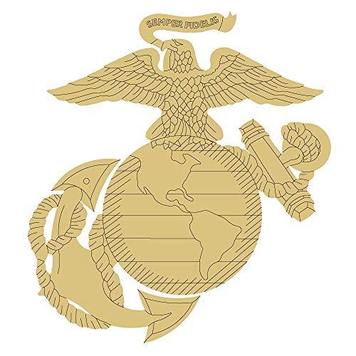 "U.S Marine Corps Symbol Cutout Unfinished Wood Military Emblem Veteran Memorabilia MDF Shape Canvas Style 1 (12"")"