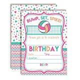 Bump, Set, Spike Volleyball Themed Birthday Party Invitations for Girls, 20 5'x7' Fill in Cards with Twenty White Envelopes by AmandaCreation