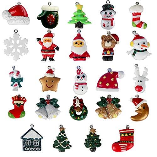 Bluelves Christmas Fascino del Pendente, 24 Pezzi Ciondoli Natalizi, Resina Addobbi Natalizi, Miniatura Babbo Natale Albero di Natale Renne Pupazzi di Neve, per Decorazione di Natale DIY Craft