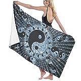 artyly Ying Yang Schéma Serviette de Bain Wrap Microfibre Doux Draps de Bain Serviette de Plage pour Homme/Femme, 80x130 cm