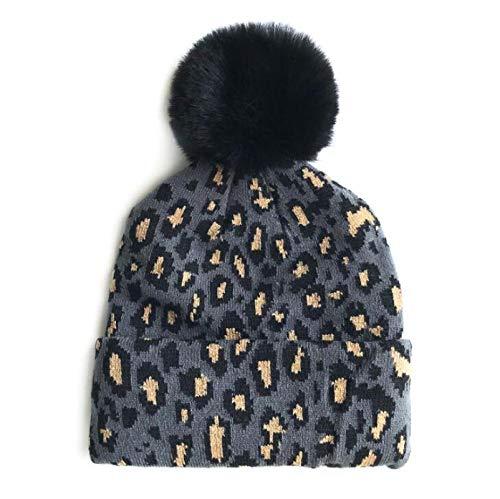 Los niños de punto sombrero de leopardo con bola de piel Gorrita Gorrita de otoño invierno caliente sombreros de bebé para niños niñas