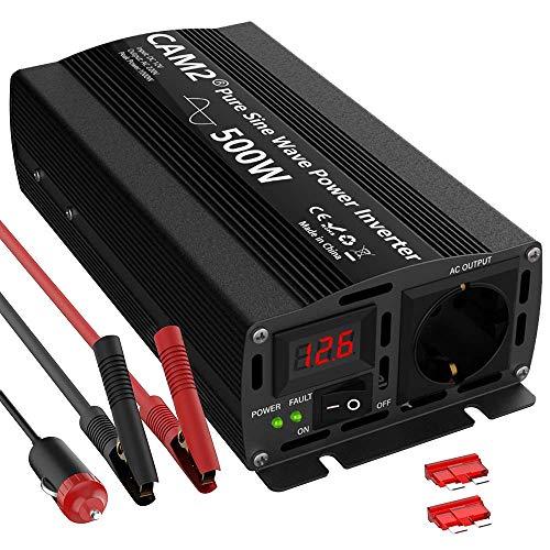 Reiner Sinus Wechselrichter 500W/CAM2 Spannungswandler 12V auf220V-240V, Spitzenleistung 1000W mit 1EU-Steckdose und LED Bildschirm für der Laptop, Pad, Händy, Intelligente Erkennung