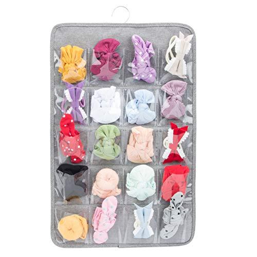 PACMAXI - Organizador de almacenamiento para diademas y lazos, para recién nacido, soporte para colgar diademas elásticas con nudos para bebé, 20 bolsillos (no incluye ningún accesorio) (gris)
