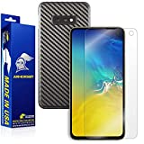 Armorsuit MilitaryShield Black Carbon Fiber Skin Wrap Film + HD Clear Screen Protector for Samsung Galaxy S10e - Anti-Bubble Film