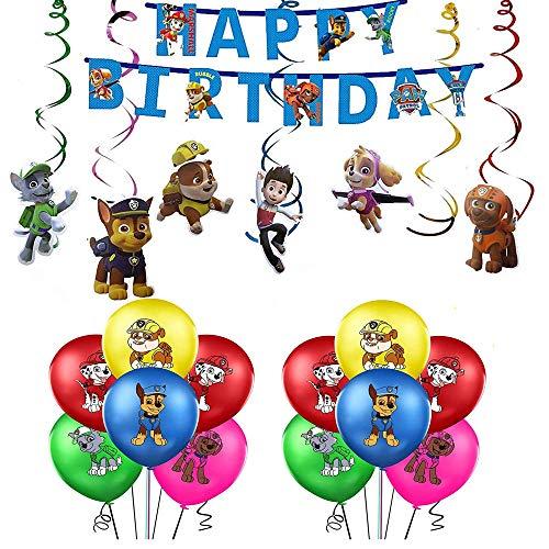 Decoración Cumpleaños Patrulla Canina Globos Patrulla Canina Pancarta Cumpleaños Patrulla Canina Remolinos Decoraciones Patrulla Canina