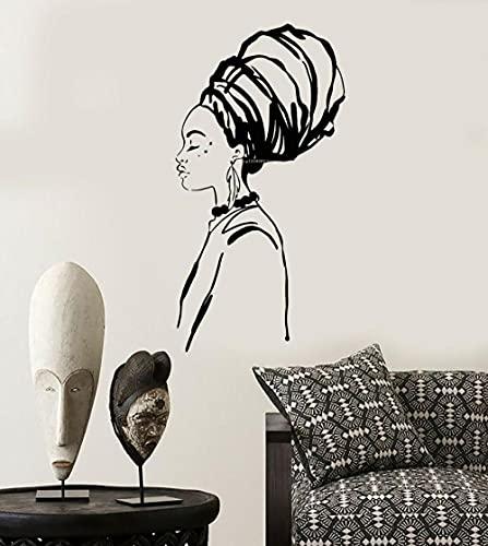 SSCLOCK Pegatinas de Pared abstractas Turbante de Mujer Africana Chica Negra Africana calcomanías de Vinilo extraíbles decoración de Cartel de Sala 54x101cm