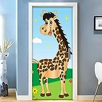 ZWYCEX ドアステッカー 3Dキリンドアステッカー壁紙のためにキッズルーム子供ベッドルームのドアの装飾壁画DIY自己粘着性防水ステッカー (Sticker Size : 77x200cm)